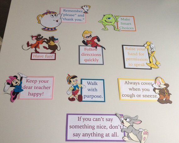 Disney Classroom Rules with Thumper Mike Mrs. Potts | Etsy
