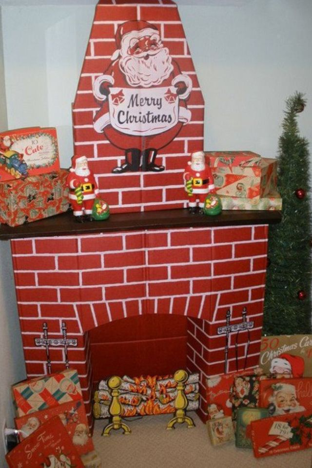 Vintage christmas and Cardboard fireplace