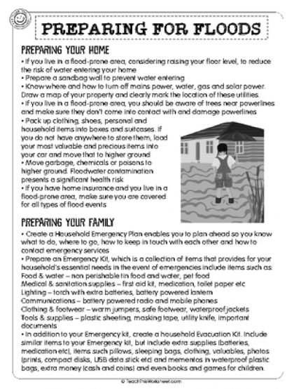 Preparing for Floods (2pg) | Natural Disasters | Pinterest