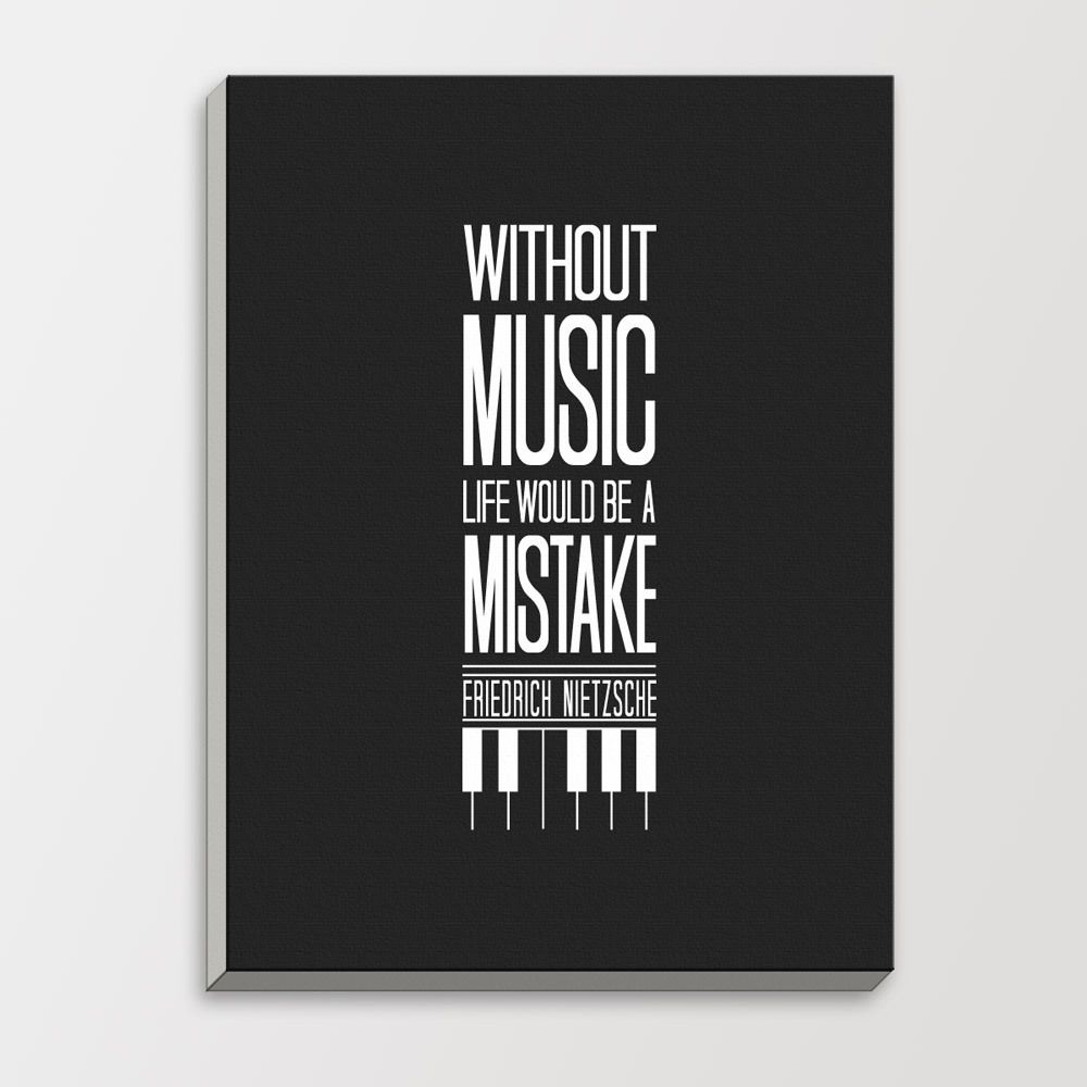 Music Black White Modern Inspirational Quotes Typography Hipster Big Poster  Minimalist Wood Framed Canvas Painting Wall