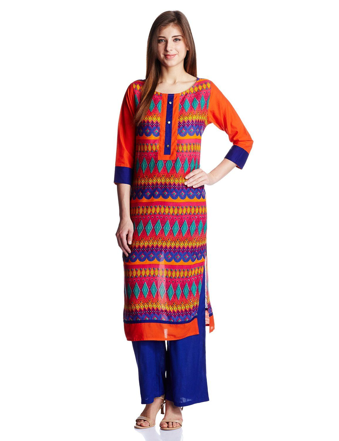 9cf1603ce7f79 Jaipur Kurti Women s Cotton Kurta and Rayon Palazzo Set  Amazon.in  Clothing    Accessories