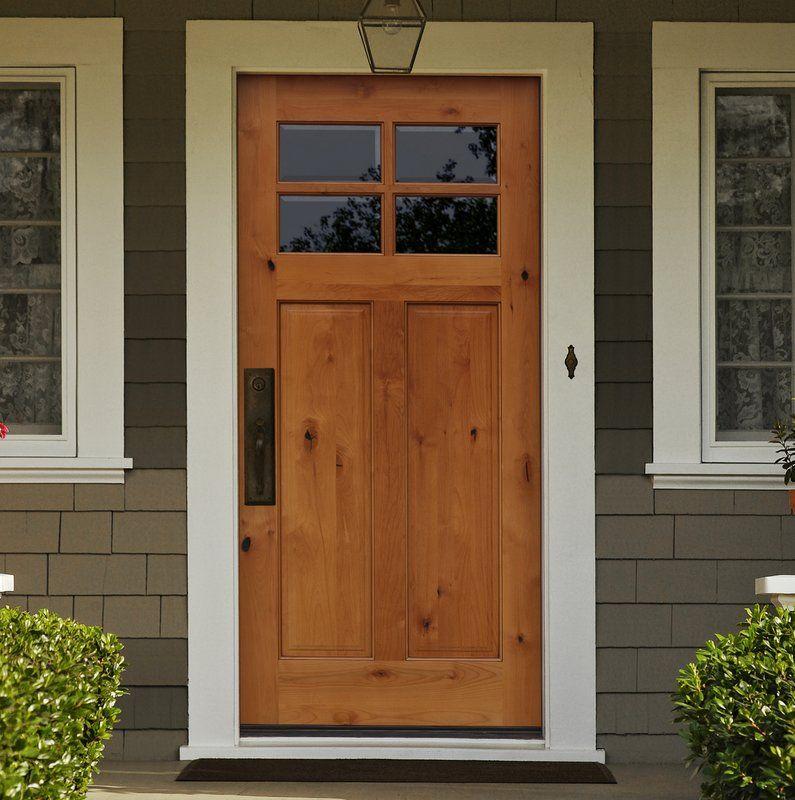 Shaker Craftsman 4 Lite Beveled Ready To Install Wood Prehung Front Entry Door Craftsman Front Doors Garage Door Design Exterior Doors
