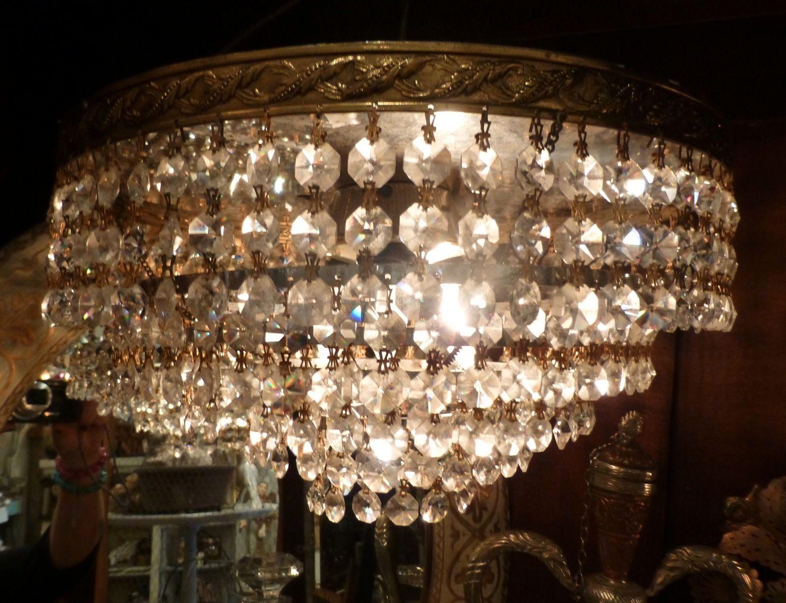 flush mount crystal chandelier. Vintage Crystal European Chandelier Wedding Cake French Flush Mount | EBay