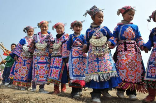 People Of Miao Ethnic Group Celebrate Traditional Tiaohua Festival