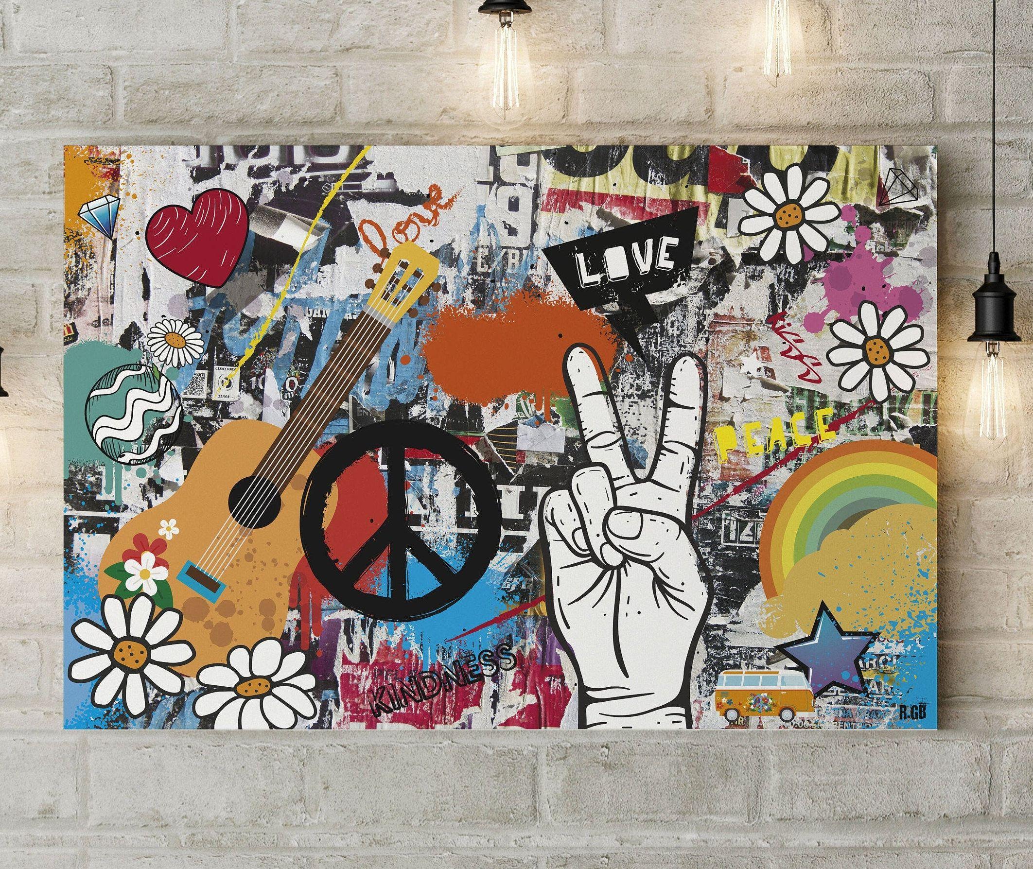 90x60cm Impression Sur Toile Tableau Street Art Graffiti Etsy Street Art Graffiti Street Art Quotes Graffiti Wall Art