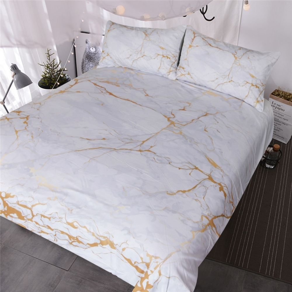 Blessliving Gold And White Marble Bedding Set 3 Piece Nature Inspired Abstract Toned Home Textiles Old Fashion Rock Duvet Cover Marble Bed Set Marble Duvet Cover Marble Bedding