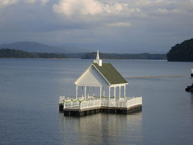 Floating wedding chapel on Douglas lake at The Mountain