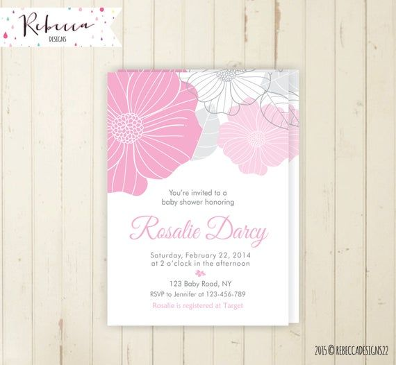 pink baby shower invitation its a girl baby shower invite brunch invitation floral baby shower grey