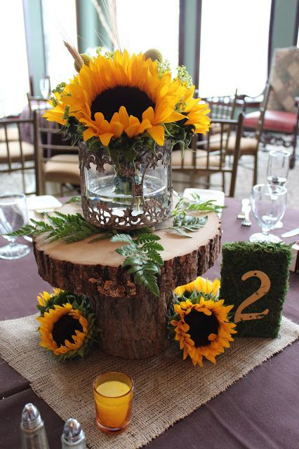View And Save Ideas About Fall Sunflower Wedding Centerpieces With Wood Base