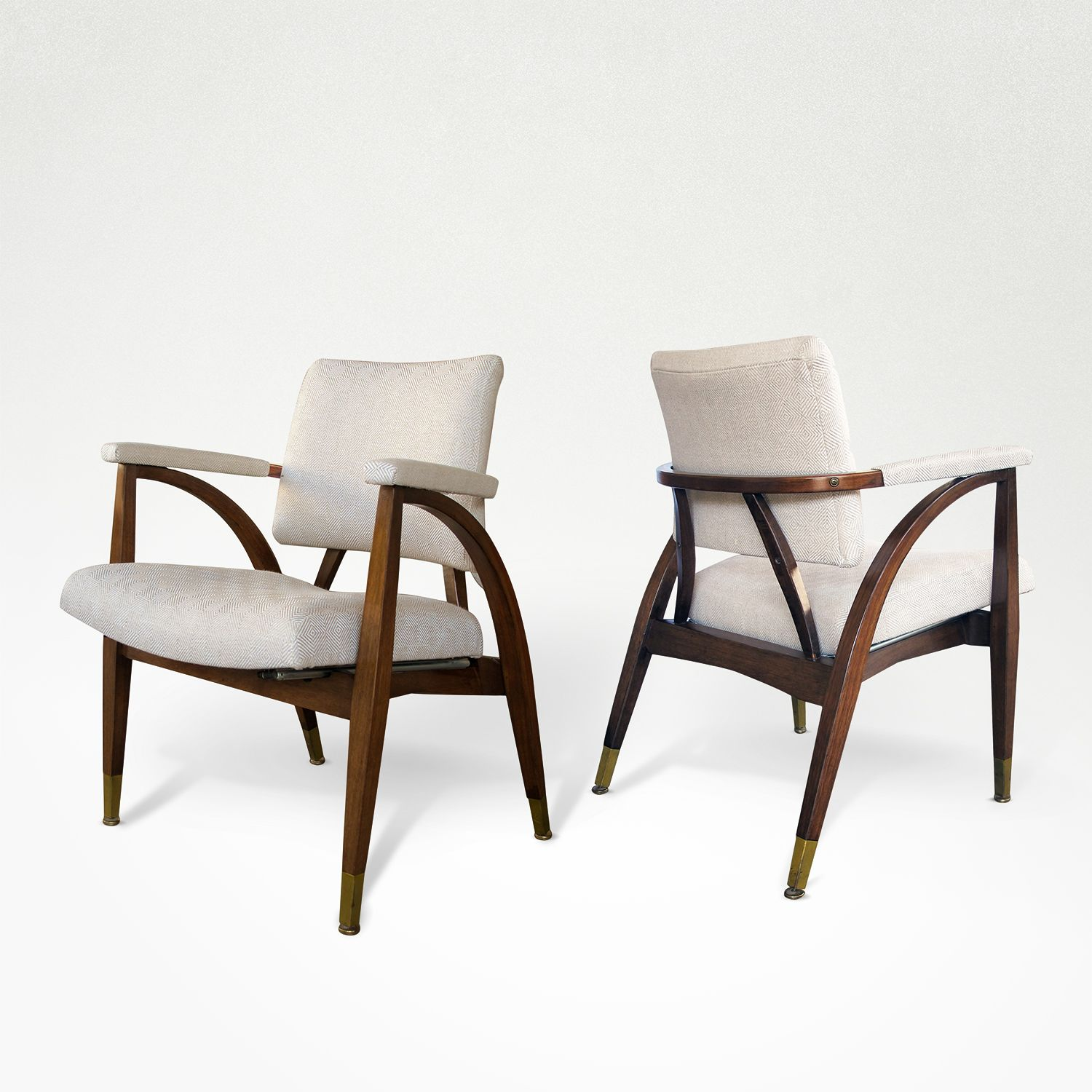 ... At   A Sculptural Pair Of American Mid Century Armchairs With Shapely  Frame By Boling Chair Company North Carolina; Each Of Stylish Mid Century  Lines