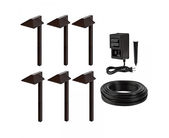 Led Landscape Lighting Kit 6 Offset Square Head Path Lights Low Voltage Transformer In 2020 With Images Landscape Lighting Kits Led Landscape Lighting Landscape Lighting