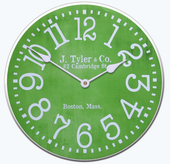 The #Apple #Green #Clock with funky numbers is a really cute children's clock is a functional modern clock. http://www.clocksaroundtheworld.com/product/JTC-LGM