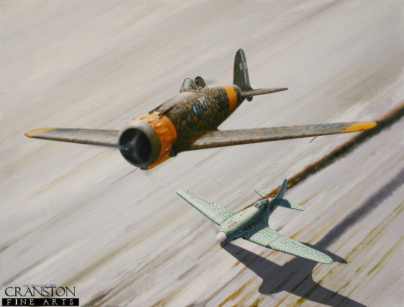Giuseppe Biron was one of Italy's most successful pilots serving on the Eastern Front in 1941, claiming at least four kills against Russian aircraft, as depicted here, as he sends a Mig 3 down in flames whilst flying a Macchi MC.200 with 369a Squadriglia, 22° Gruppo Autonomo.  Biron's aircraft sports the <i>scarecrow smoking red stars</i> emblem, designed by Biron himself and adopted as 22° Gruppo's badge before their deployment to the USSR.