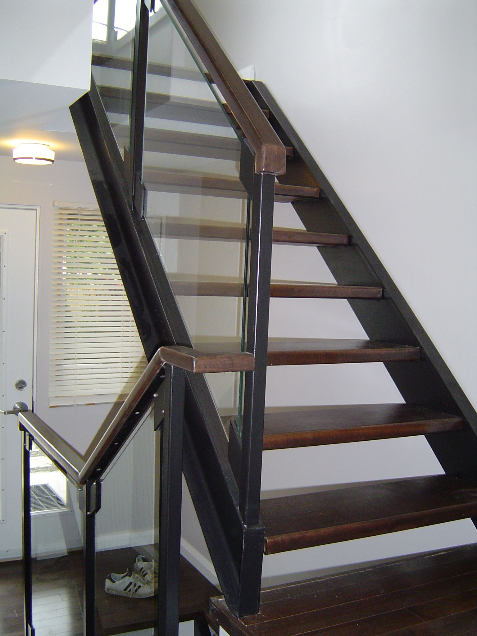 Best Solid Stained Maple Wood Treads With Steel Channel 400 x 300