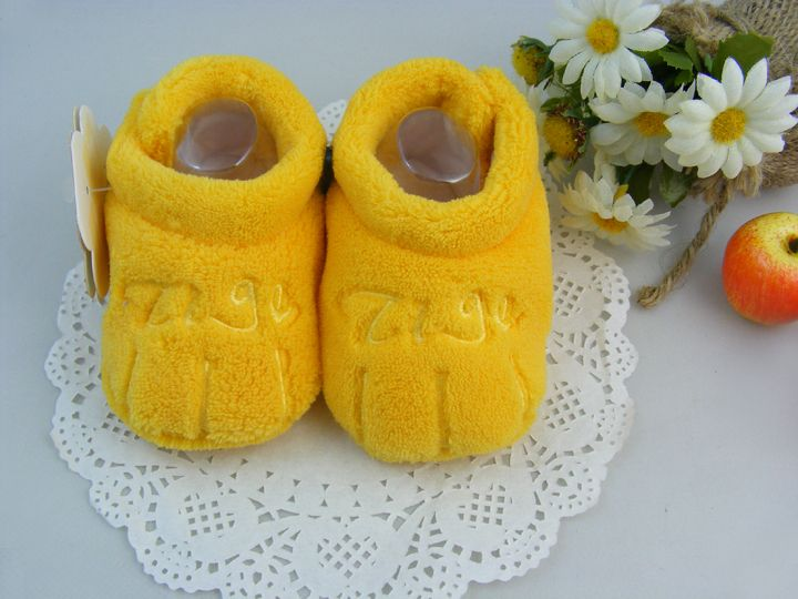 $2.62 Warm Coral Fleece Yellow Shoes Newborn Toddler Prewalker Indoor Booty