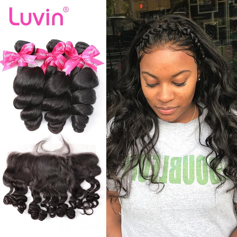 Luvin Brazilian Human Hair 3 Bundles With Lace Frontal Closure Loose Wave Free Part 100 Remy Hair Extensions Brazilian Human Hair Lace Frontal Closure Remy Hair Extensions