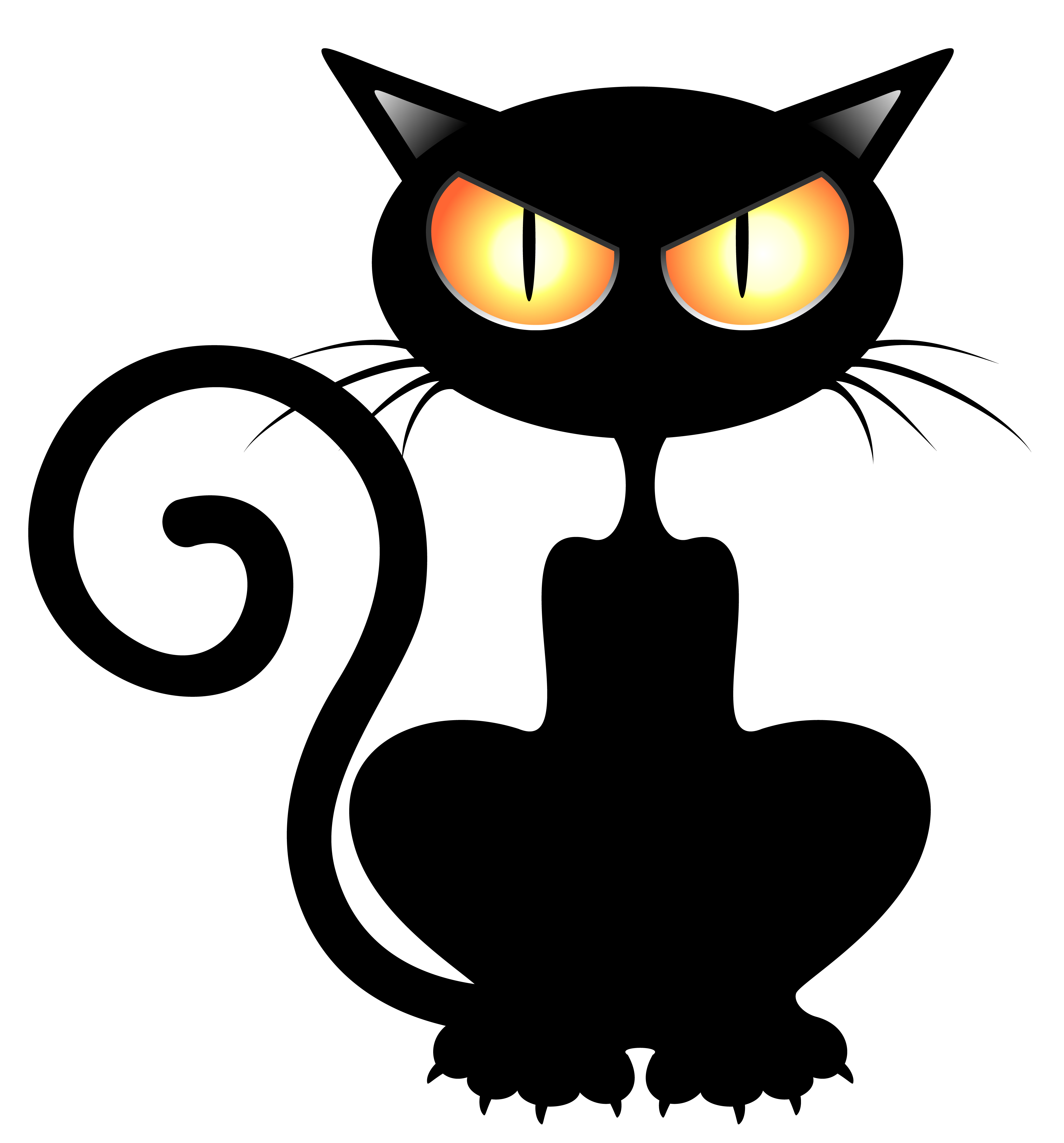 Black Cat PNG Vector Clipart Picture 4102x4406