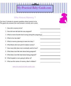 Baby Shower Game Who Knows Mommy? Free Printable Just Download And Print!