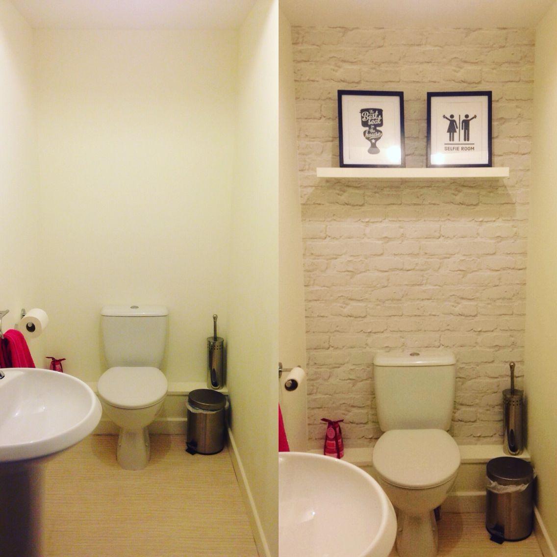 Small bathroom transformation. #Brickwallpaper #small bathroom ...