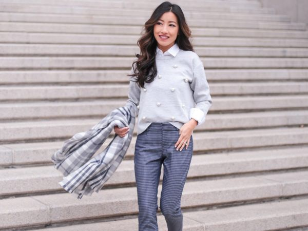 f76b7a1ec Business casual bow // plaid flannel + winter white skirt - Extra Petite