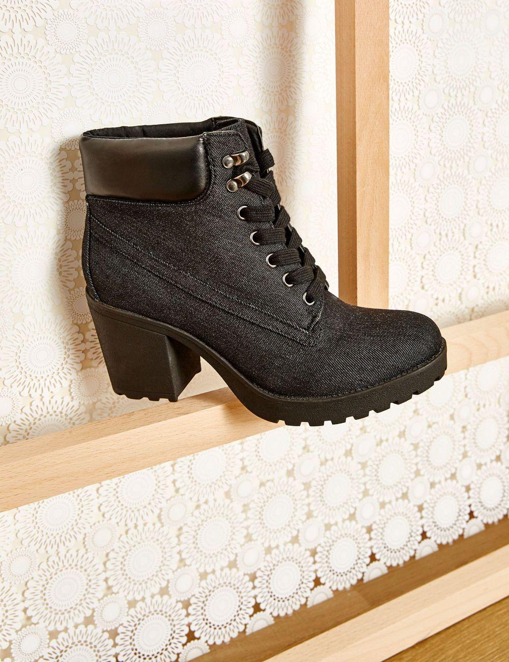 bottines talons à lacets bleu nuit femme • jennyfer | [chaussure