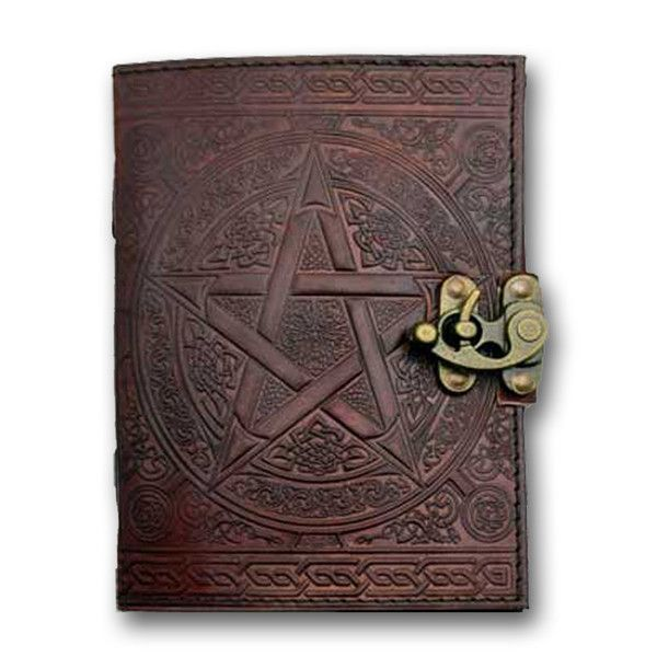 Handmade in Brown Leather PENTACLE Pagan Wicca Book-of-Shadows Journal Diary