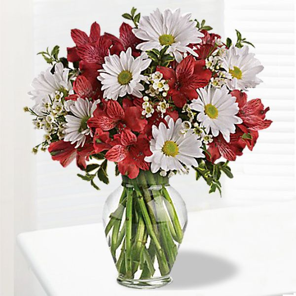 Floral Bouquet Arrangement With Red Alstroemeria And White Daisy Spray Chrysanthemums Accented With Asso Send Flowers Online Flowers Online Flower Arrangements