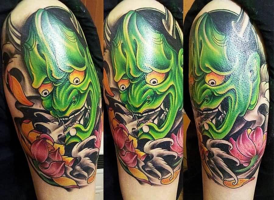 20 Eye-Catching Oni Mask Tattoo Designs - http://slodive.com ...