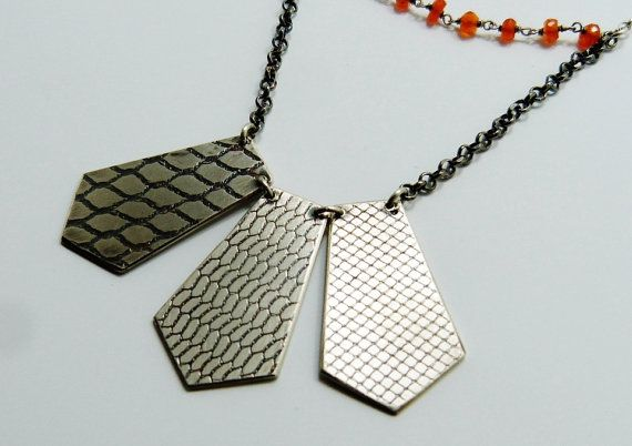 carnelian necklace short orange stone and by LillyOJewellery