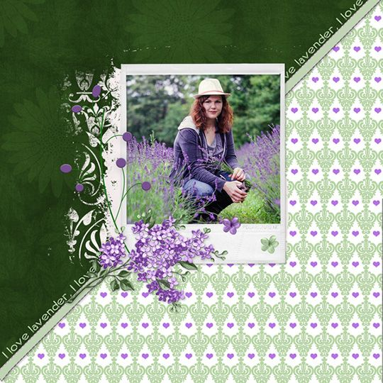 digital scrapbook page using Just a Little Love templates
