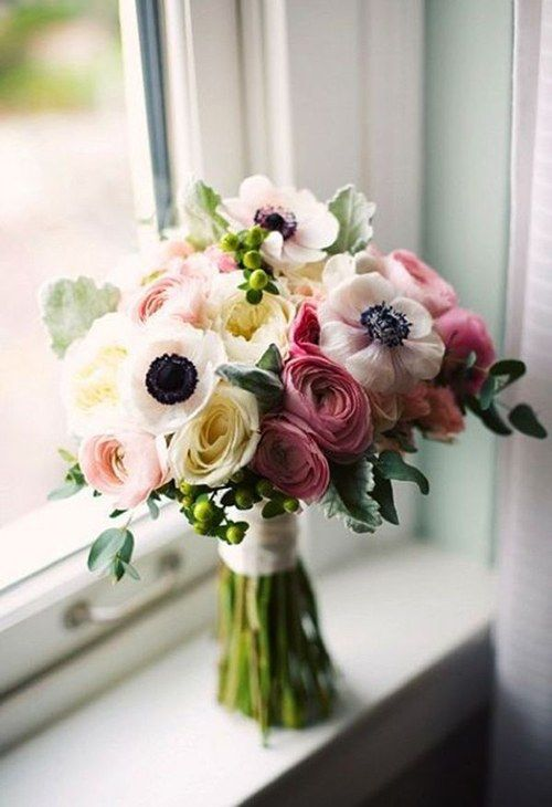 Wedding Bouquets with Anemones: In Season Now   Pinterest   Flowers ...