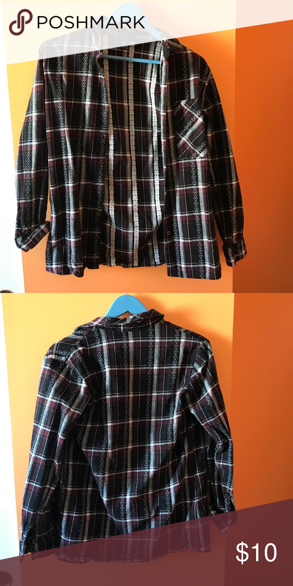 98d9aa00 forever 21 plaid flannel women's s! forever 21 plaid flannel in navy and  marron with white embroidery detailing. 100% cotton, excellent condition as  only ...
