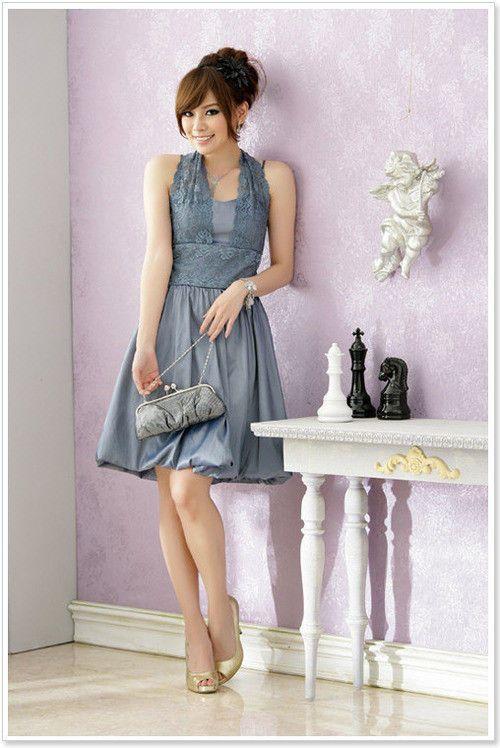 Damen Abendkleid Neckholderkleid Träger mit Spitze ...