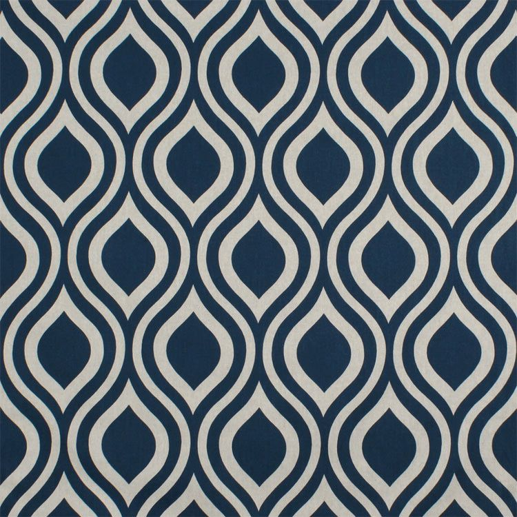 Navy Blue Premier Prints Nicole Indigo Laken fabric with a geometric print for DIY home decor accessories