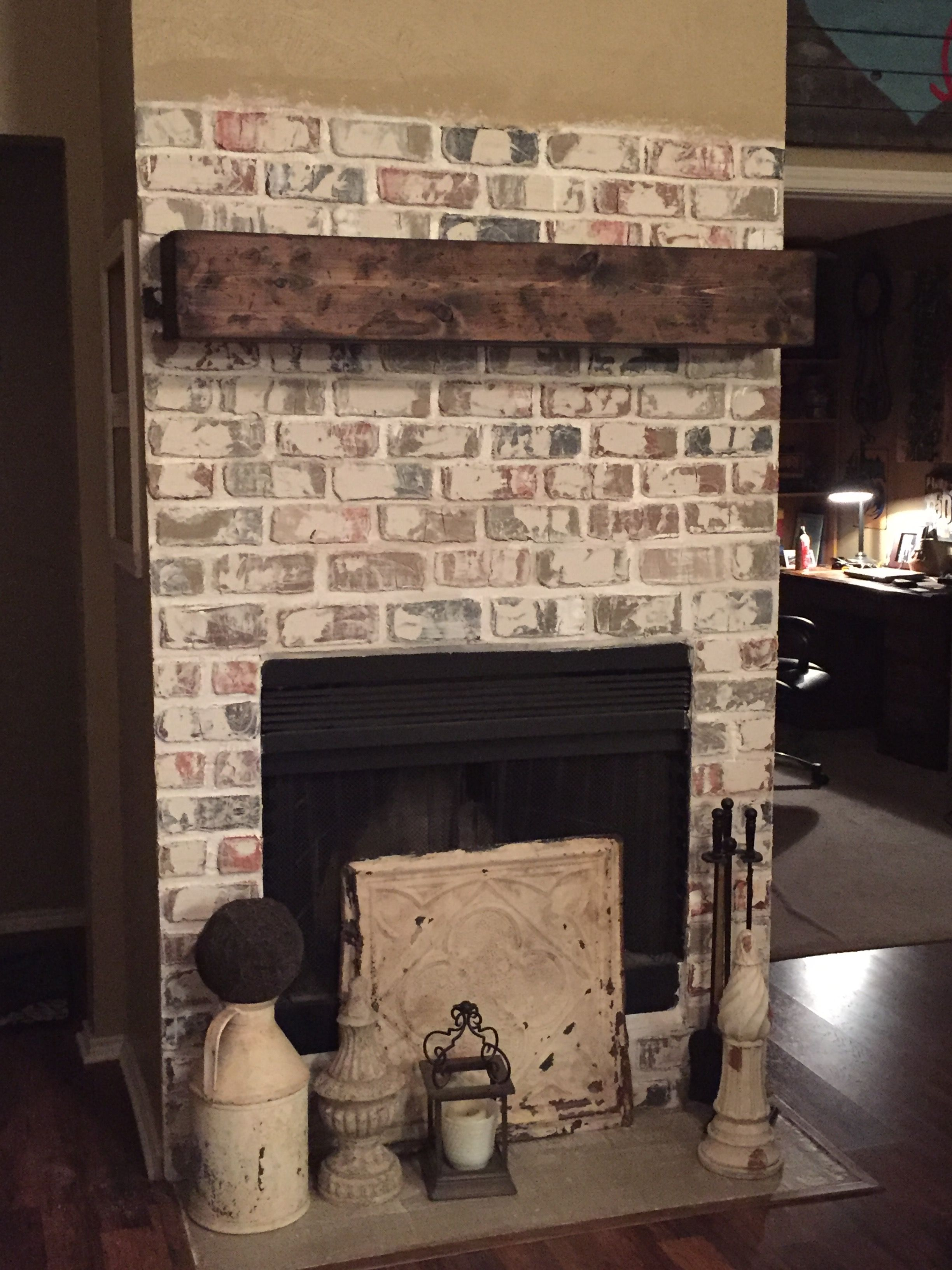 Faux Bricks Cover Up Old Tile New Mantle Added Faux Brick Walls Faux Brick Brick Wall