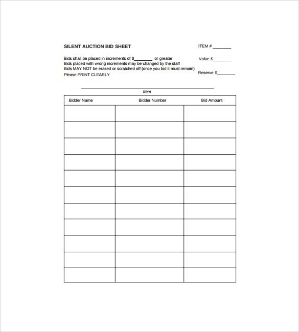 Silent Auction Bid Sheet Template  Church    Silent