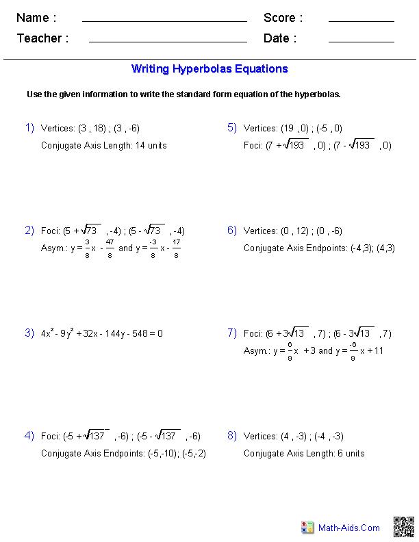 Algebra 2 Worksheets Conic Sections Worksheets Algebra Worksheets Graphing Quadratics Algebra Equations Worksheets