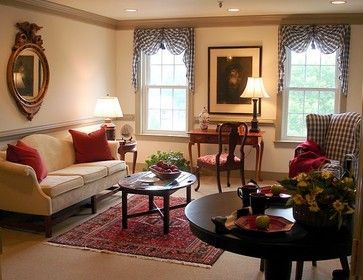 Cute curtains colonial williamsburg interiors decorating for Colonial living room decorating ideas