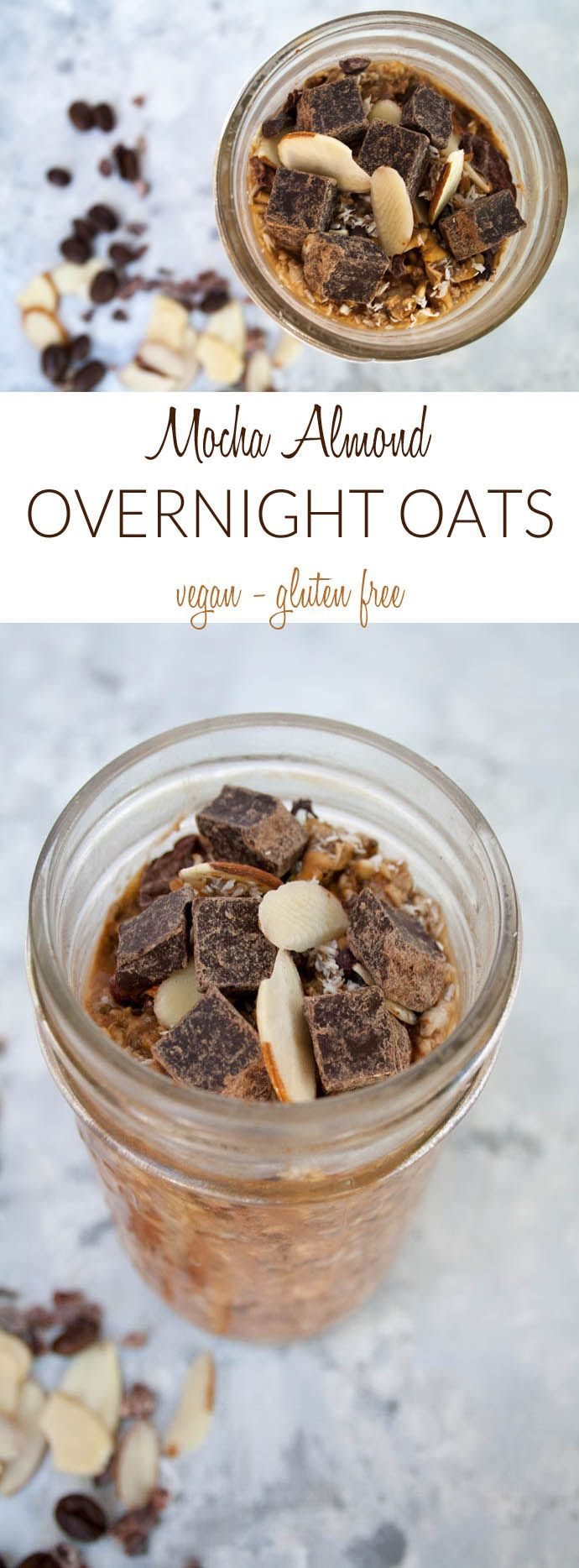 Mocha Almond Overnight Oats (vegan, gluten free) - This recipe is perfect for traveling or on the go. You get coffee and breakfast all in one! Almond Overnight Oats (vegan, gluten free) - This recipe is perfect for traveling or on the go. You get coffee and breakfast all in one!