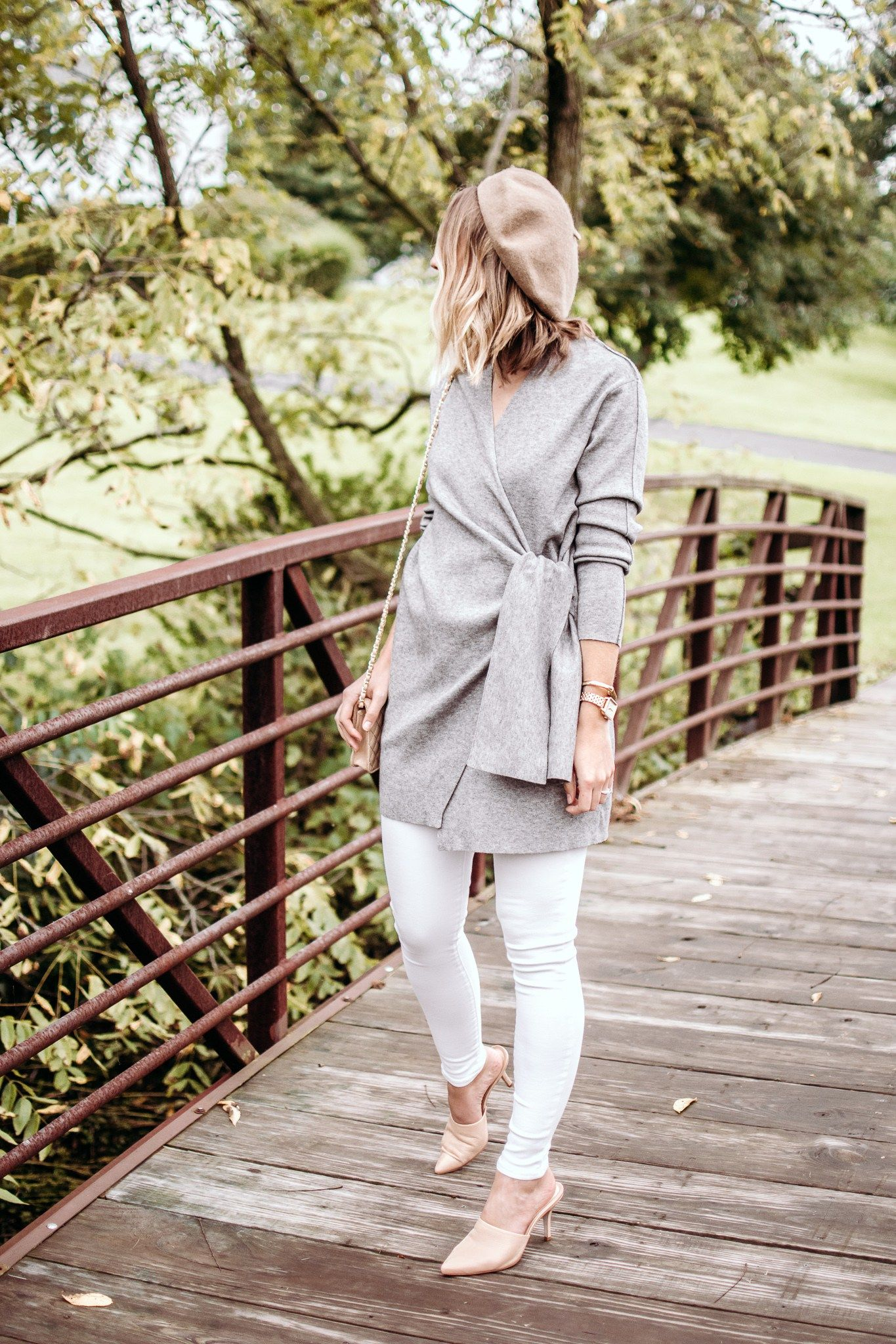 841e9b364ac Parisian style with a grey wrap cardigan and tan beret