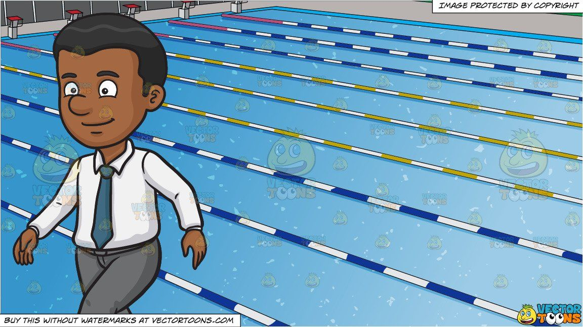 Clipart Cartoon A Black Man Walking Alone And Outdoor Competition Swimming Pool Background