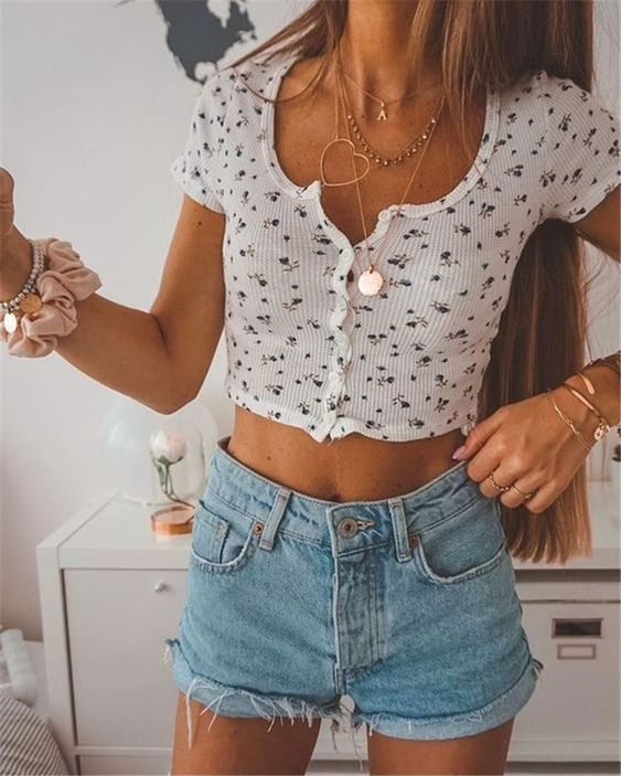 Ribbed Floral Short Sleeve Button Up Crop Top Tee Shirt 4