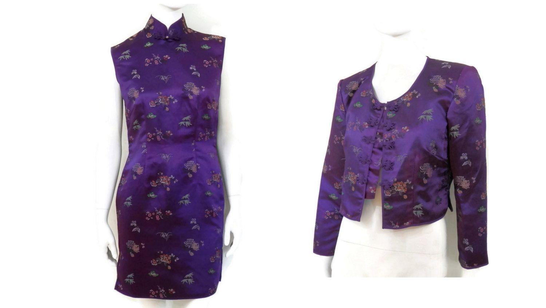 1980er Jahre festgelegt, Cheongsam Qipao lila Satin Brokat-Kleid und ...