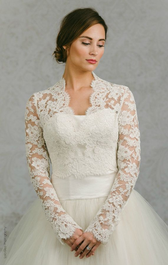 Catherine Is A Stunning French Alencon Lace Bridal Bolero With On Back Closure And Long Sleeves Boleros From Alisa Benay Are Custom Made Upon