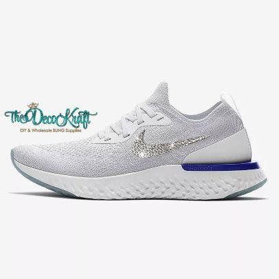 Womens Epic React Flyknit White Racer Blue White Custom Bling Swarovski  Sneakers dbcbb105a5a4