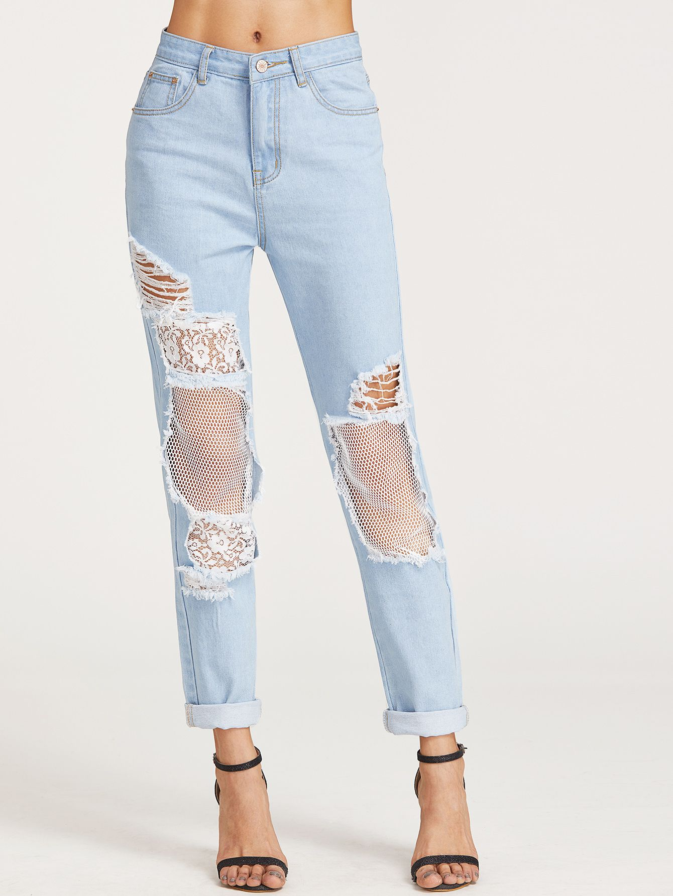 a1443fa27efc1 Shop Bleach Wash Ripped Fishnet Lined Boyfriend Jeans online. SheIn offers  Bleach Wash Ripped Fishnet Lined Boyfriend Jeans & more to fit your  fashionable ...
