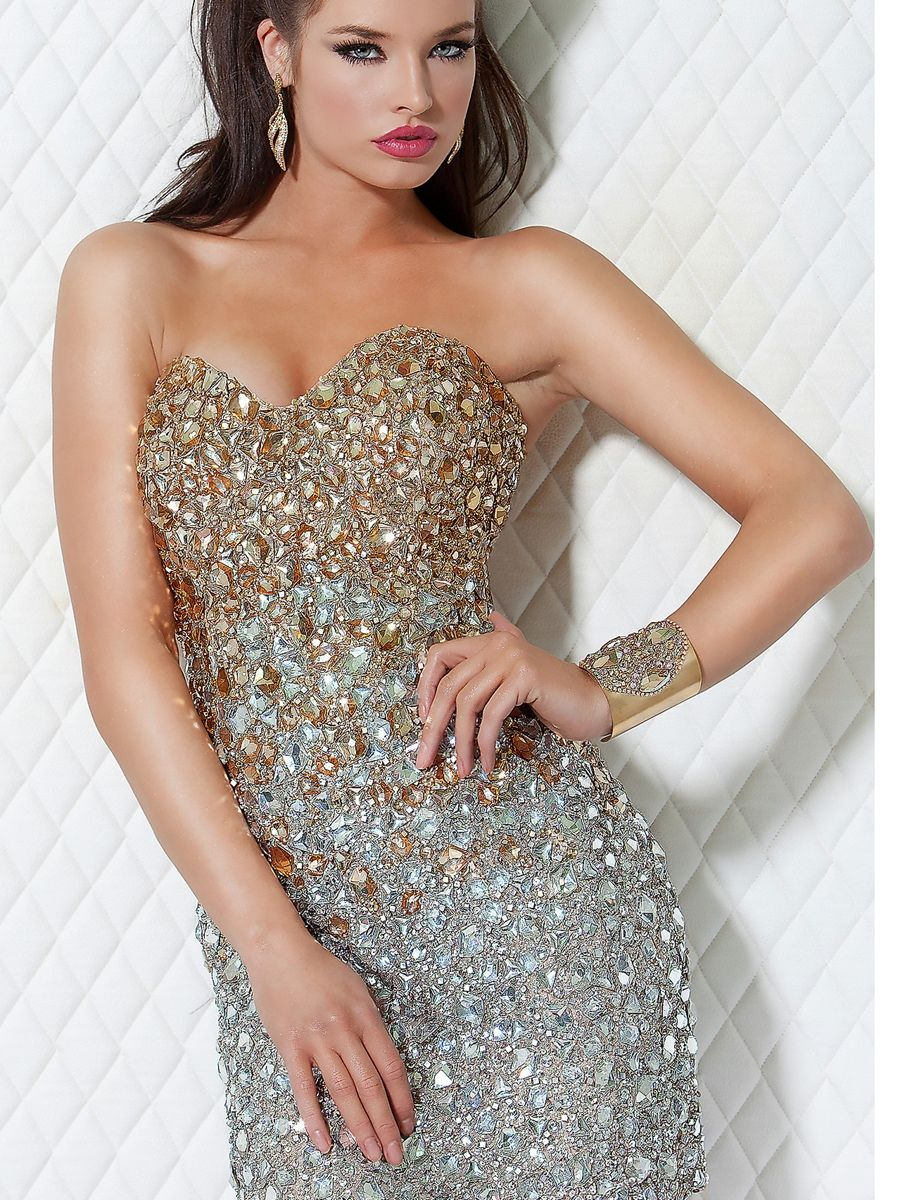 Sweetheart Sheath Short Length Rhinestone Embellished Cocktail Part Gown