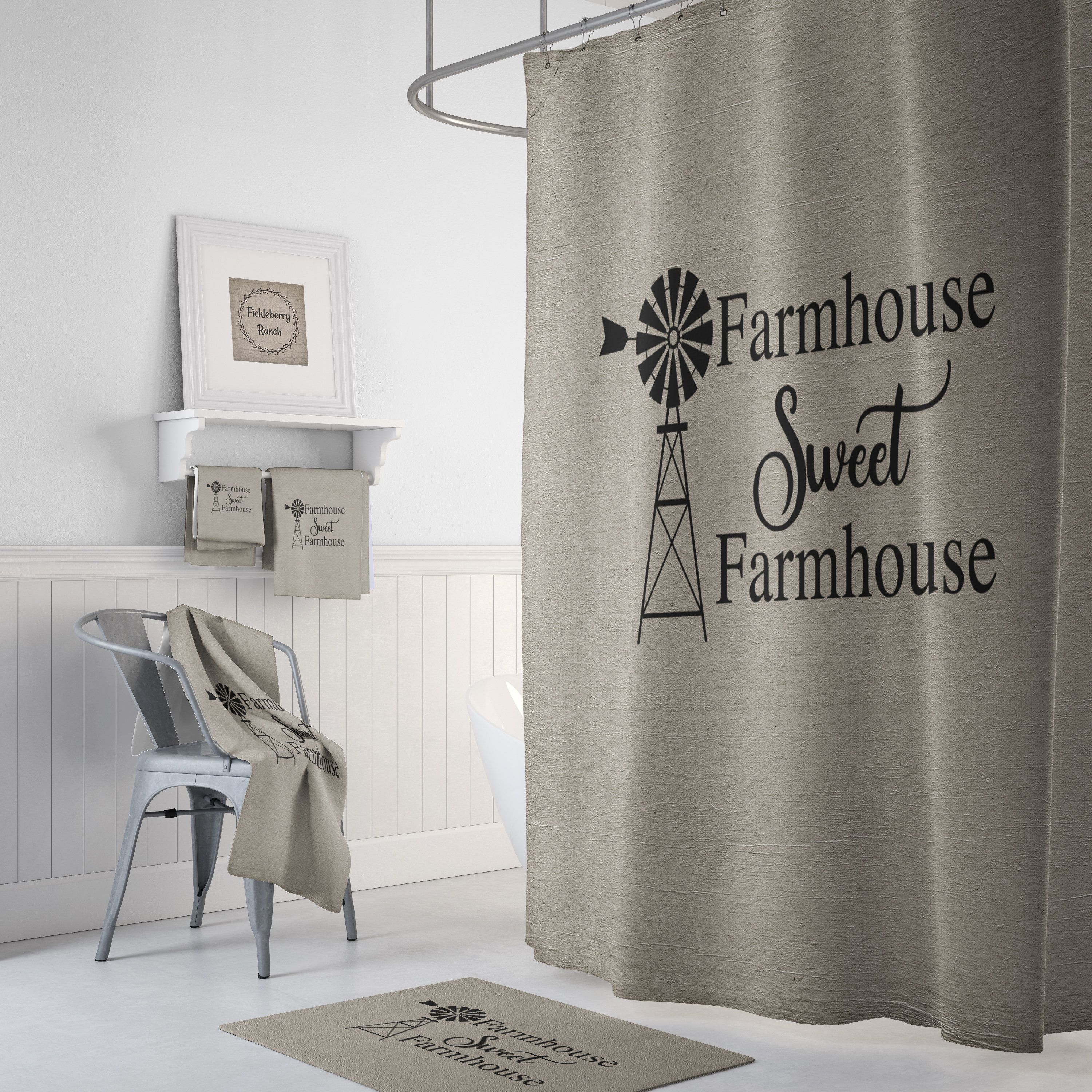 Rustic Farmhouse Shower Curtain Farm Sweet Farm Windmill In 2020