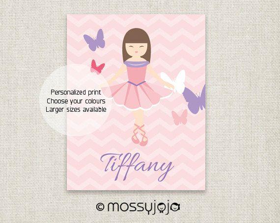 Butterfly Ballet Personalized Baby girl nursery art by MossyJojo, $25.00