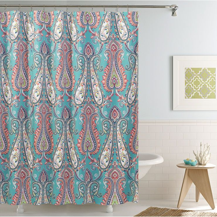 Anastasia Blue And Coral Shower Curtain